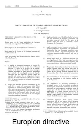 European directive for controlled measuring instruments no. 2004/22/EC